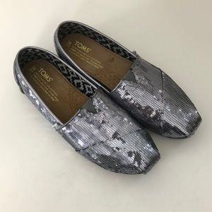 Toms Classic Sequin Slip On Pewter Size 7